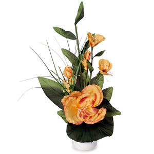 Aranžmán Ruže v kvetináči oranžová, 50 cm