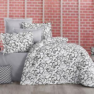 Kvalitex Bavlnené obliečky Delux Sabina čiernobiela, 240 x 200 cm, 2 ks 70 x 90 cm