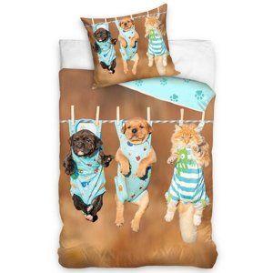 Carbotex Bavlnené obliečky Dogs and Cat, 140 x 200 cm, 70 x 80 cm