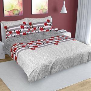 Bellatex Bavlnené obliečky Krík sivá, 220 x 200 cm, 2 ks 70 x 90 cm