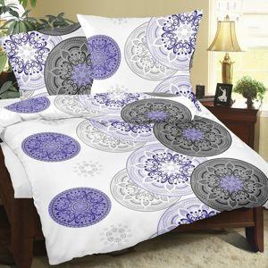 Bellatex Krepové obliečky Mandala fialová, 140 x 200 cm, 70 x 90 cm