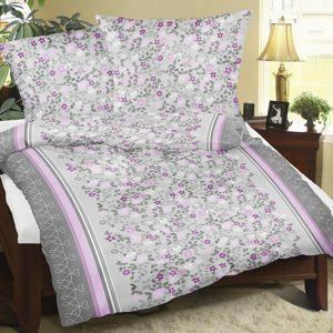 Bellatex Saténové obliečky Kvietok sivo-ružová