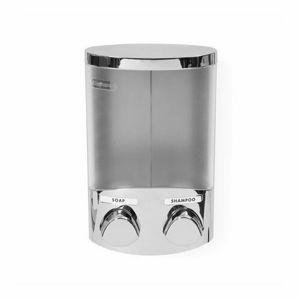 Dávkovač Compactor DUO mýdla / šampónu nebo desinfekce na zeď, chrom plast, 2x 310 ml RAN6016