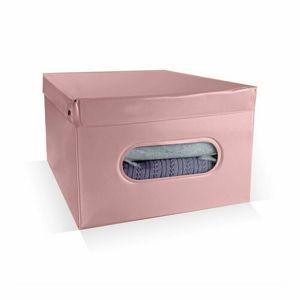 Compactor Skladací úložný box PVC so zipsom Compactor Nordic 50 x 38.5 x 24 cm, ružový (Antique)