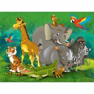 AG Art Detská fototapeta XXL Zvieratá v džungli, 360 x 270 cm, 4 diely