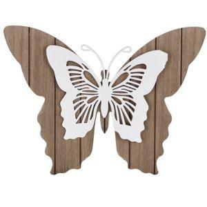 Koopman Drevená závesná dekorácia Motýlie mámenie, biela