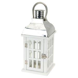 Drevený lampáš Simorre biela, 15 x 32 cm