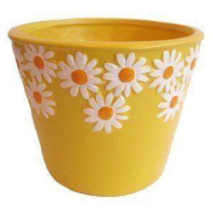Keramický obal na kvetináč Margaréty žltá, pr. 12 cm
