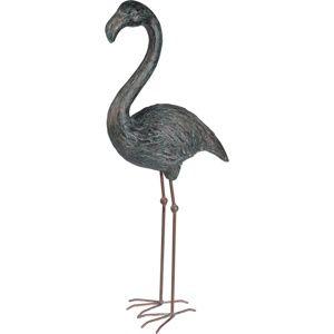Koopman Dekoračný Plameniak sivá, 80 cm