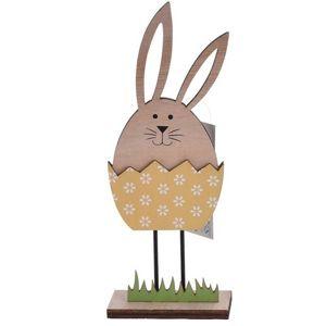 Koopman Veľkonočná dekorácia Zajačik vo vajíčku žltá, 21 cm