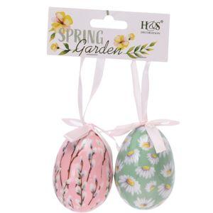 Koopman Veľkonočné závesná dekorácia Floral Eggs 2 ks, farebná