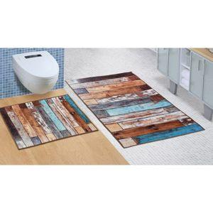Bellatex Kúpeľňová sada bez vykrojenia Drevená podlaha, 60 x 100 cm, 60 x 50 cm