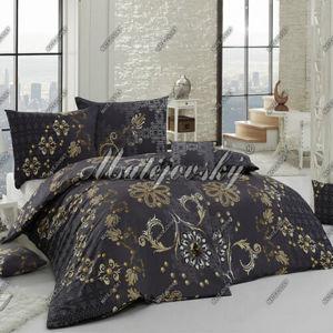 Matějovský bavlnené obliečky Gold, čierna, 240 x 210 cm, 2 ks 70 x 90 cm