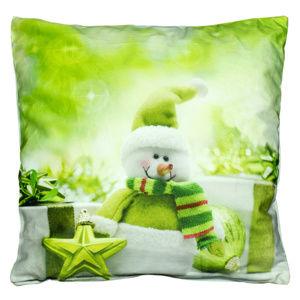 BO-MA Trading Obliečka na vankúšik Snehuliak zelená, 40 x 40 cm