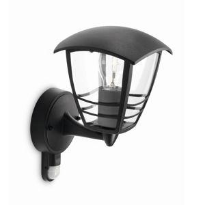 Philips 15388/30/16 Creek Vonkajšie nástenné svietidlo s čidlom 28,5 cm, čierna