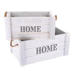 Sada dekoračných drevených debničiek Home 2 ks, svetlosivá
