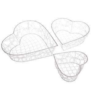 Sada dekoračných kovových košíkov Wire heart, 3 ks