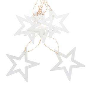 Sada vianočných drevených ozdôb Hviezda biela, 6 ks