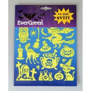 Samolepiaca dekorácia svietiaca v tme Halloween - čarodejnica, 24 x 18,2 cm