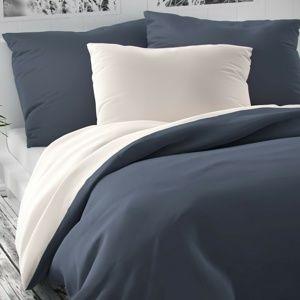 Kvalitex Saténové obliečky Luxury Collection biela/tmavosivá, 200 x 200 cm, 2 ks 70 x 90 cm