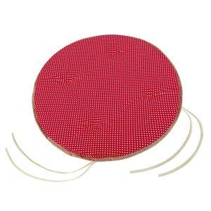 Bellatex Sedák Adéla okrúhly hladký Bodka červená, 40 cm