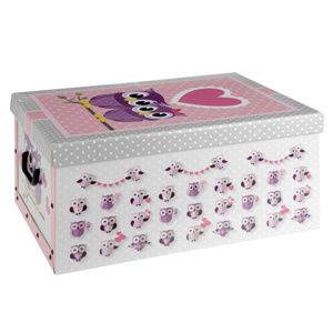 Úložný box Sovičky, ružová