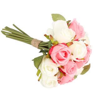 Dakls Umelá kytica ruží, ružová + biela