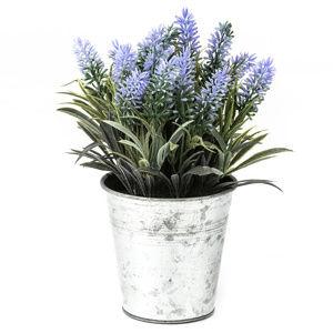 Umelá levanduľa v plechovom kvetináči modrofialová, 24 cm
