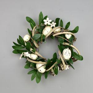 Veľkonočný ratanový veniec Rosita biela, 22 cm