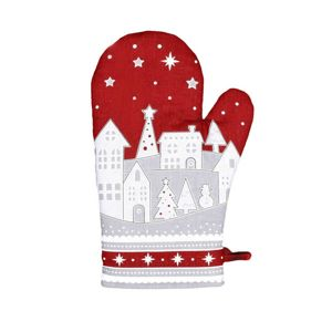 Forbyt Vianočná chňapka Zimná dedinka červená, 18 x 28 cm