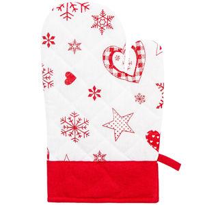 Forbyt Vianočná chňapka s magnetom Vločka a srdce červená, 18 x 28 cm