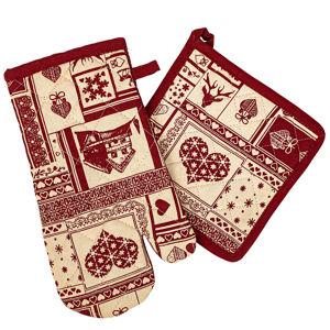 Trade Concept Vianočná kuchynská sada chňapka a podložka Patchwork červená, 18 x 32 cm, 20 x 20 cm