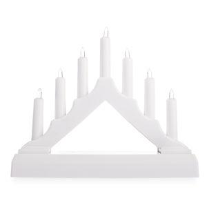 Vianočný LED svietnik, biela, plast, 15,5 x 15,5 x 3,8 cm