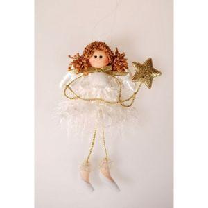 Vianočný anjel Augustine zlatá, 22 cm