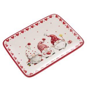 Vianočný keramický tanier Škriatkovia, 20 x 15,3 x 2,3 cm