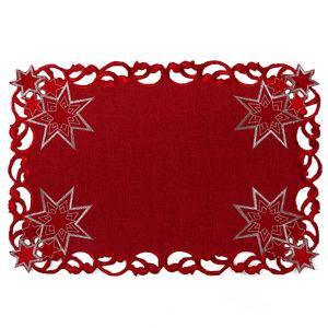 Forbyt Vianočný vyšívaný obrus Hviezdy červená
